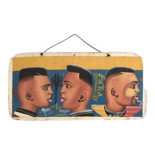 """1980s Painted West African Barber Sign """"Extra """"O"""""""" on Plywood from Ghana For Sale"""