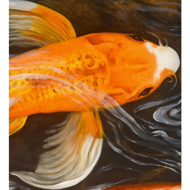 """Asian Laurie Flaherty """"Murmur"""" Contemporary Koi Fish Realist Oil Painting For Sale - Image 3 of 6"""
