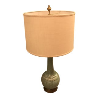 Restored, Celadon Glazed Ceramic Table Lamp, Mid-Century For Sale