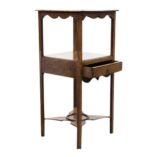 Early 19th Century English Oak Drawer Shelf Table For Sale
