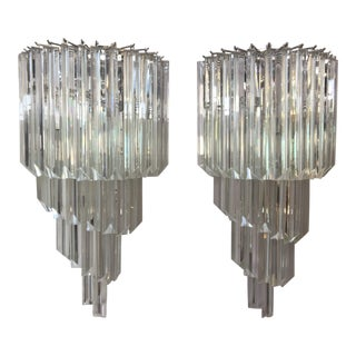 Murano Glass Triedo Wall Sconces - a Pair For Sale