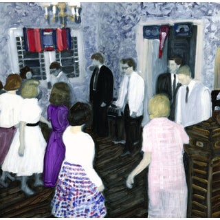 """""""Dorm Dance"""" Contemporary Figurative and Interior Scene Mixed-Media Painting by Christy Powers For Sale"""