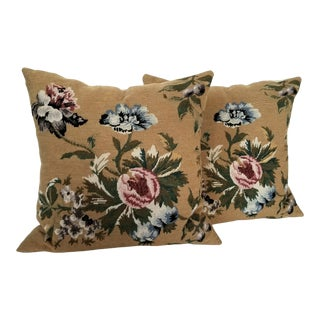 Vintage Needlepoint Floral Pillows - a Pair For Sale
