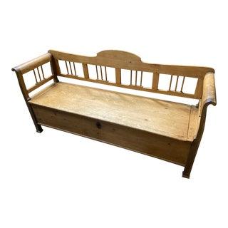 European Bleach Pine Flip-Top Bench For Sale