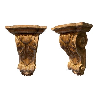 Dennis & Leen Wood Acanthus Leaf Brackets - a Pair For Sale