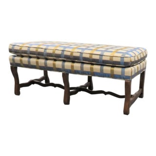 Pearson Italian Style Stripe Upholstered Walnut Bench For Sale