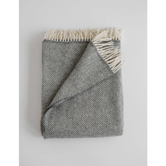 Herringbone Throw in Graphite For Sale - Image 13 of 13