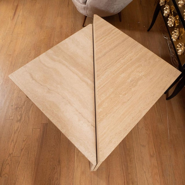 Triangular Modular Travertine Coffee Table - 2 Pieces For Sale - Image 4 of 5