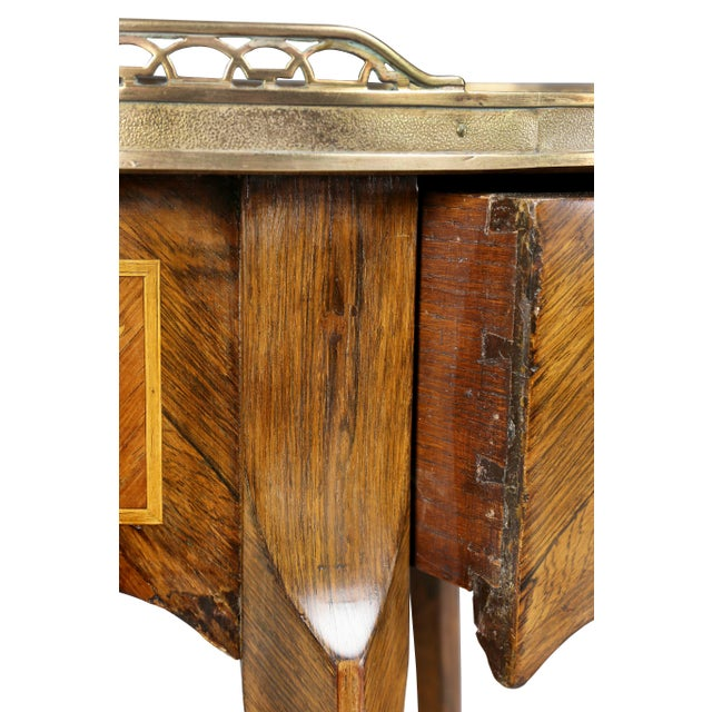 Brass Louis XVI Style Marquetry Table A' Ecrire For Sale - Image 7 of 13
