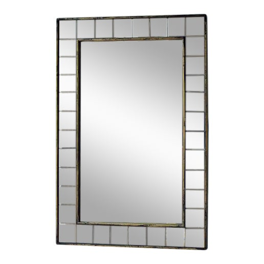West Elm Antique Tiled Wall Mirror - Image 1 of 3