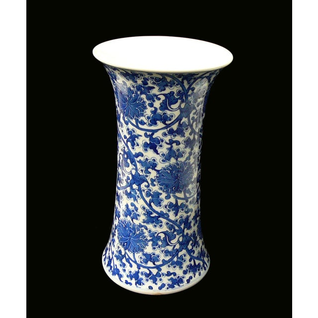 Chinese Vintage Blue & White Flower Porcelain Vase - Image 4 of 8