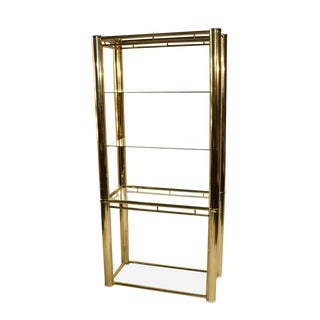 Mid Century Milo Baughman style Brass Glass Etagere For Sale