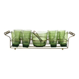 Vintage Bar Caddy With Ice Bucket - Set of 9