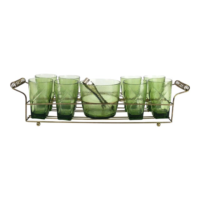 Vintage Bar Caddy With Ice Bucket - Set of 9 For Sale