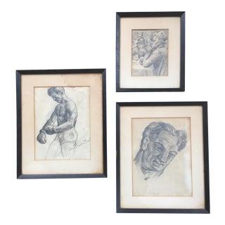 "Vintage Original ""Boxer, Portrait, Card Game"" Drawings by David Fredenthal - Set of 3 For Sale"