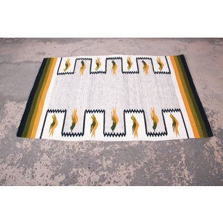 Vintage Navajo Wool Rug or Wall Hanging With Geometric Bird Design Preview