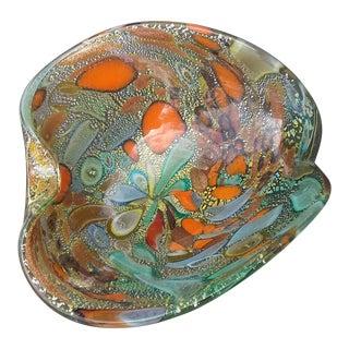 1980s Murano Miraflores Glass Dish For Sale