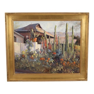 """""""Cactus on Nopal Street"""" Painting by Priscilla Fossek For Sale"""