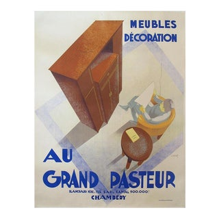 1935 Vintage Charles Villot Au Grand Pasteur French Art Deco Poster For Sale
