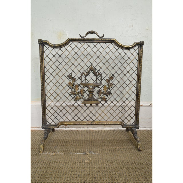 Gold Maitland Smith French Louis XV Style Rococo Bronze Fire Screen For Sale - Image 8 of 13