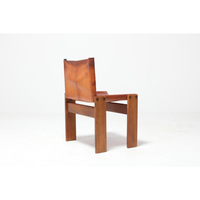 1970s Scarpa 'Monk' Chairs in Patinated Cognac Leather, Set of Four For Sale - Image 5 of 11