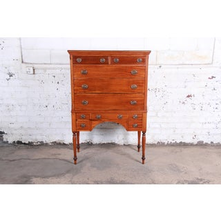 Antique Mahogany 10-Drawer Highboy Chest of Drawers, Circa 1910 Preview