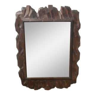 Brutalist Style Wood Hanging Mirror For Sale