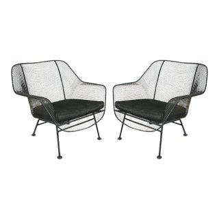 Pair of 1950s Woodard Sculptura Lounge Chairs For Sale