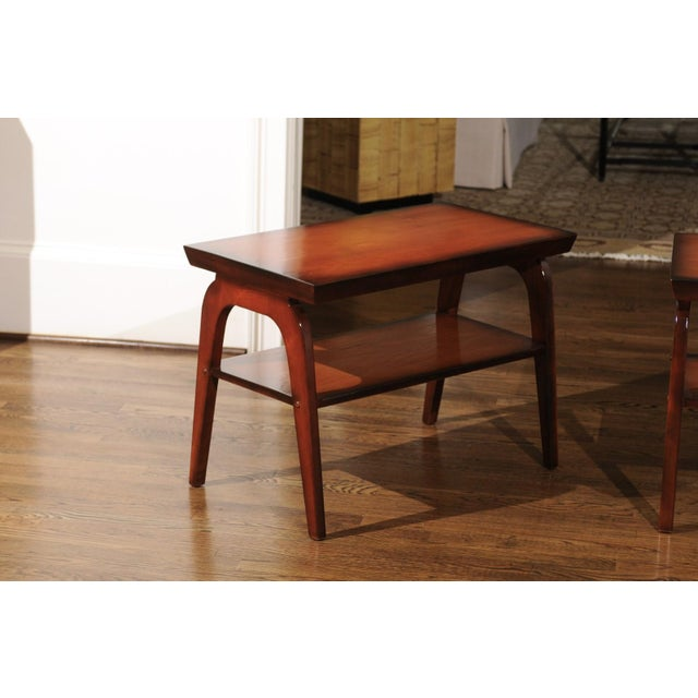 Brown Rare Restored Pair of End Tables by John Wisner for Ficks Reed, Circa 1954 For Sale - Image 8 of 13