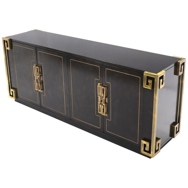 Mastercraft Burl Wood and Brass Greek Key Ornament Long Sideboard Credenza For Sale - Image 13 of 13