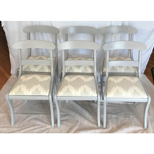 Enamel Gustavian Gray Klismos Dining Chairs - Set of 6 For Sale - Image 7 of 7