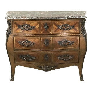 19th Century French Marquetry Marble Top Bombe Commode For Sale