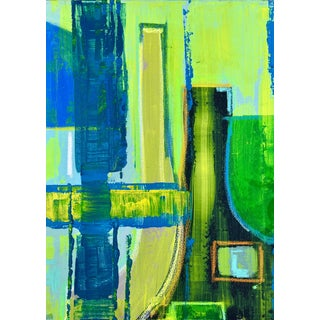 Contemporary Abstract Blue and Green Mixed-Media Painting by Bryan Boomershine For Sale
