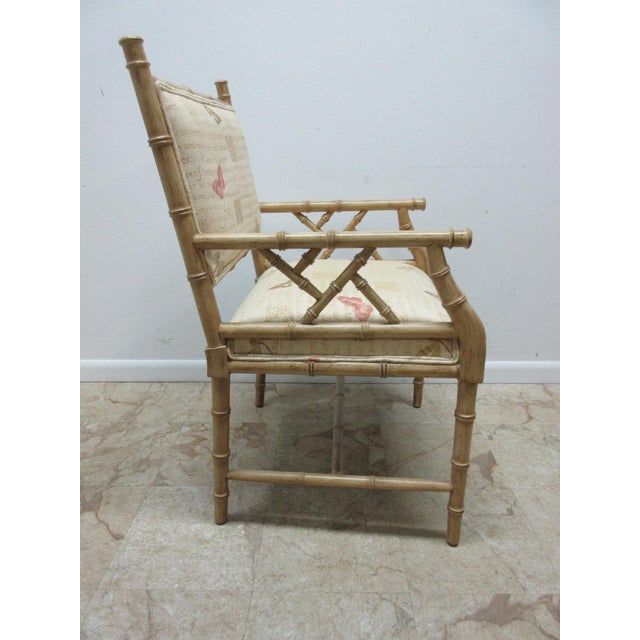 Vintage Faux Bamboo Regency Armchair For Sale - Image 4 of 9