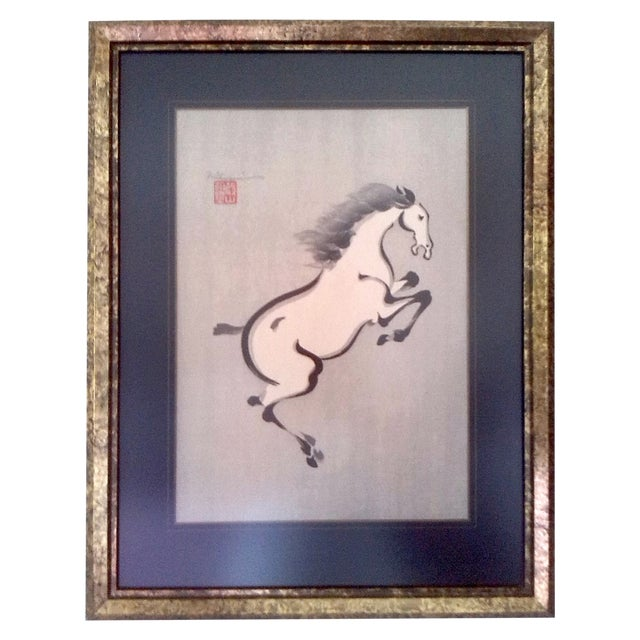 Wakyosai Rearing Horse Japanese Ink Painting For Sale