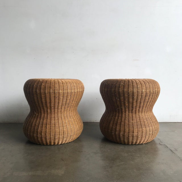 W 19 x D 19 x H 19.5 Vintage side tables in excellent vintage condition. Both stools/side tables have no large breaks of...