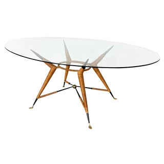 Mexican Modernist Dining Table With Oval Glass Top For Sale