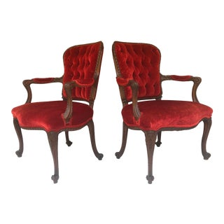 Antique Carved Wood Fauteuil Chairs - a Pair For Sale
