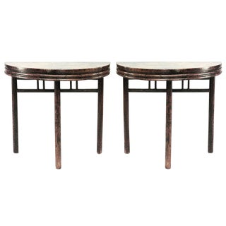 19th Century Chinese Teak Console Tables - a Pair For Sale