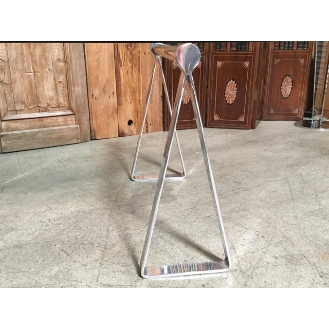 Mid-Century Modern Mirrored Polished Aluminium Sawhorse Table Desk For Sale In Los Angeles - Image 6 of 11