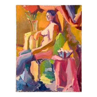 1980s Figurative Female Nude Oil Painting by Barbara Yeterian For Sale