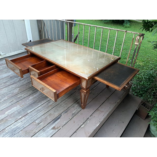 2000 - 2009 Theodore Alexander Eglomise Gilded Wood and Glass Coffee Table With 3 Drawers and 2 Leather Pull Outs For Sale - Image 5 of 13
