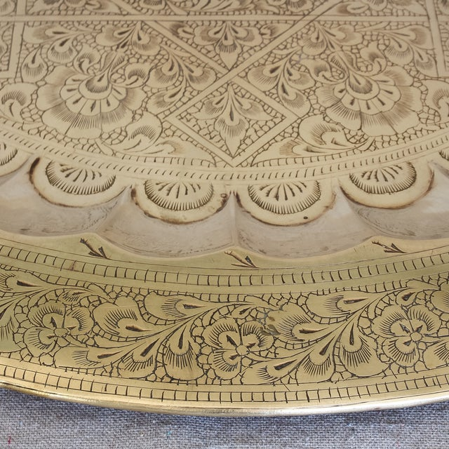 Islamic Vintage Persian Engraved Brass Tray For Sale - Image 3 of 6