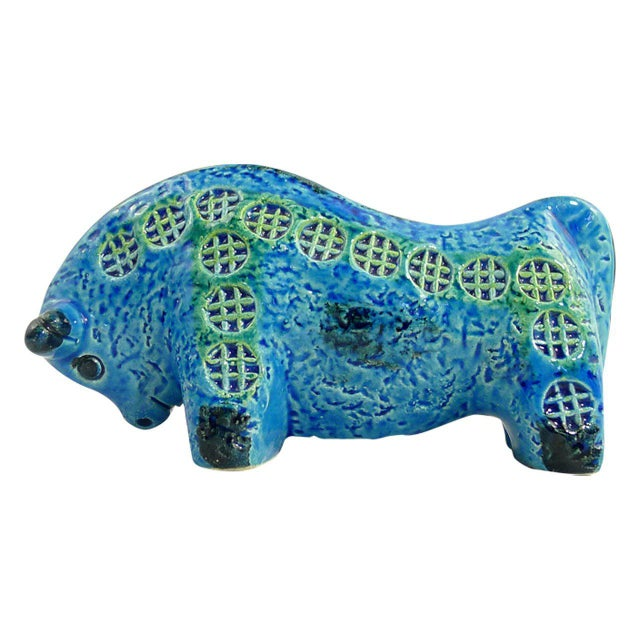 Vintage ceramic bull designed by Aldo Londi as part of his collection in the 'Rimini Blu' color designed 1959, inspired by...