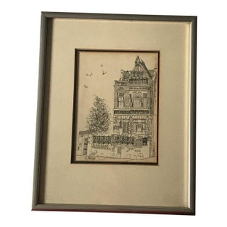 """Traditional Ink Drawing of Chicago Home, """"the House Where Stars Stayed"""" For Sale"""