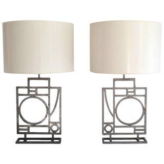 Pair of Post-Modern Geometrical Form Table Lamps by Robert Sonneman For Sale