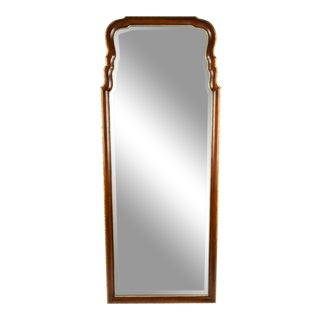 Vintage Mahogany Wood Framed Hanging Wall Mirror For Sale