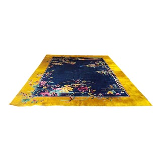 A Must See Antique Gold & Blue 9' X 12' Art Deco Chinese Rug For Sale