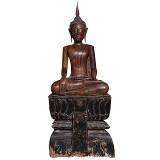 Antique Painted Teak Seated Buddha From Thailand, 17th-18th Century For Sale