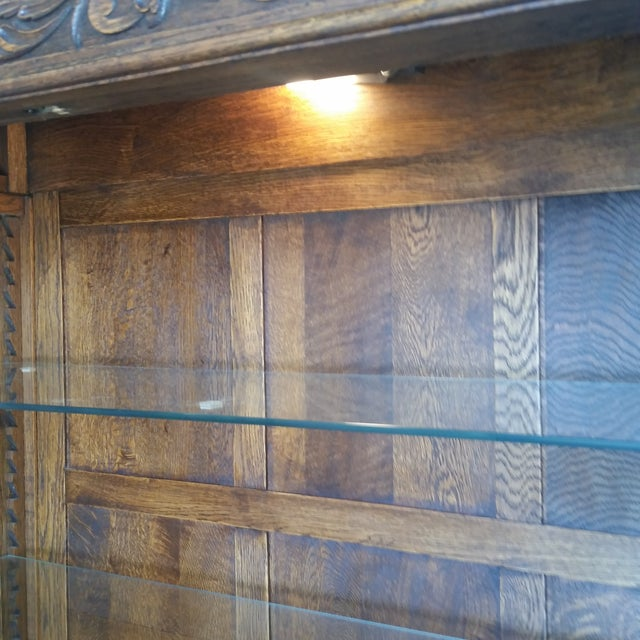 Antique Oak Barley Twist Bookcase Display China Cabinet / Bookcase Hutch For Sale - Image 10 of 12